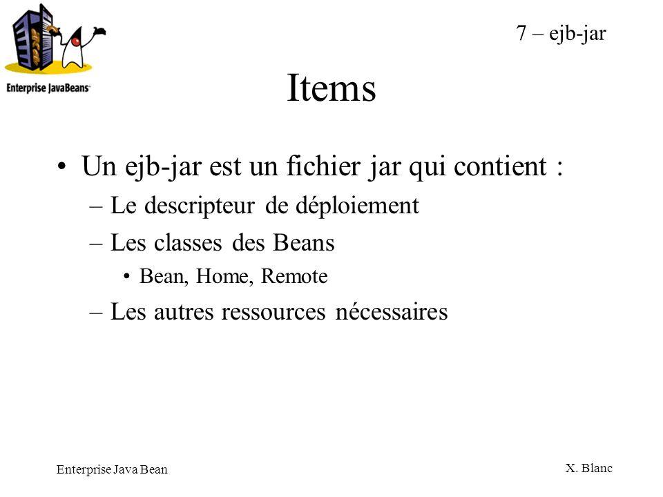 Enterprise Java Bean X. Blanc Items Un ejb-jar est un fichier jar qui contient : –Le descripteur de déploiement –Les classes des Beans Bean, Home, Rem