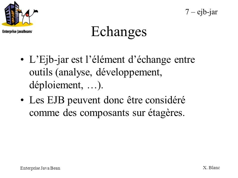 Enterprise Java Bean X. Blanc Echanges LEjb-jar est lélément déchange entre outils (analyse, développement, déploiement, …). Les EJB peuvent donc être