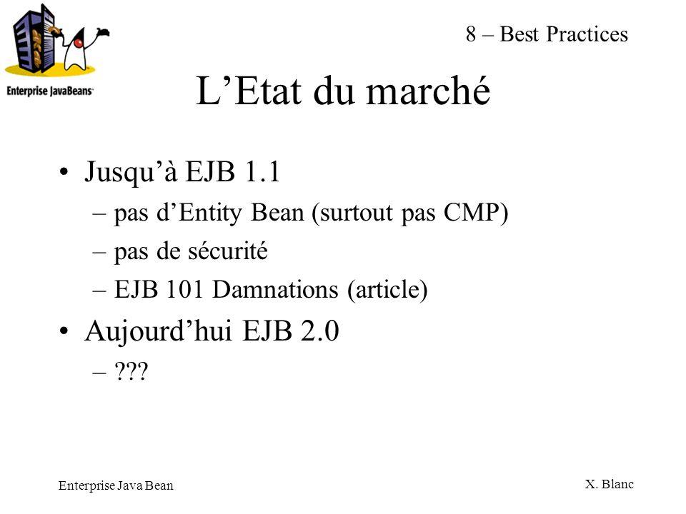 Enterprise Java Bean X. Blanc LEtat du marché Jusquà EJB 1.1 –pas dEntity Bean (surtout pas CMP) –pas de sécurité –EJB 101 Damnations (article) Aujour