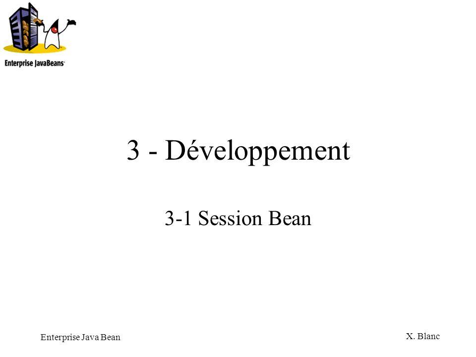Enterprise Java Bean X. Blanc 3 - Développement 3-1 Session Bean