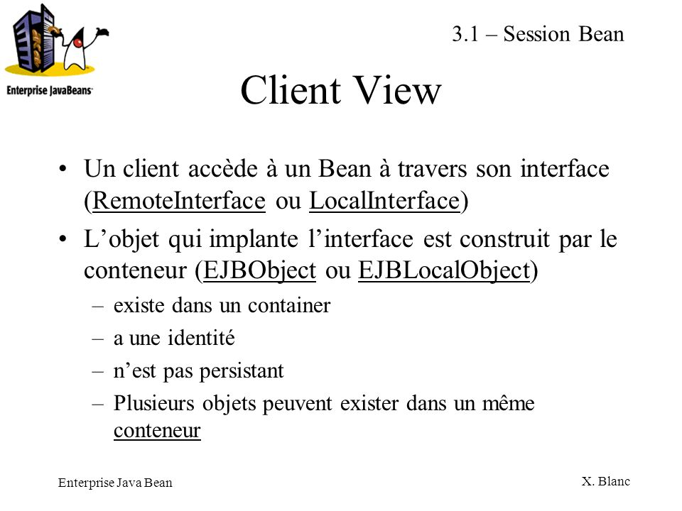 Enterprise Java Bean X. Blanc Client View Un client accède à un Bean à travers son interface (RemoteInterface ou LocalInterface) Lobjet qui implante l