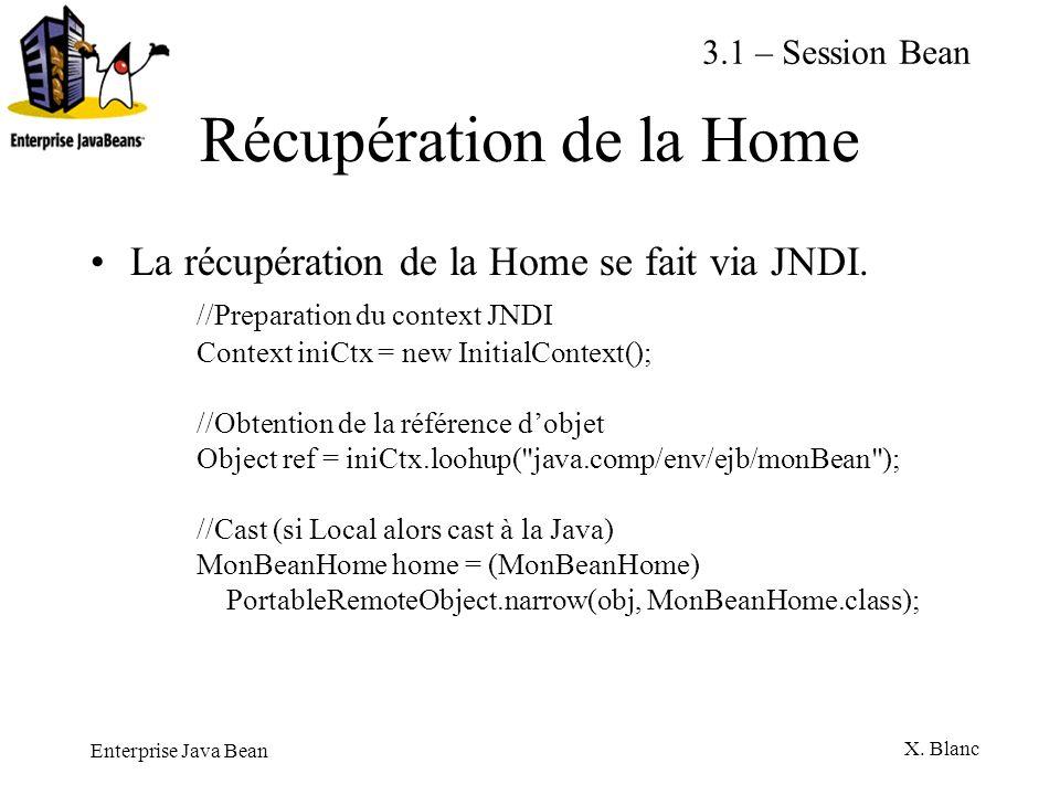 Enterprise Java Bean X. Blanc Récupération de la Home La récupération de la Home se fait via JNDI. //Preparation du context JNDI Context iniCtx = new