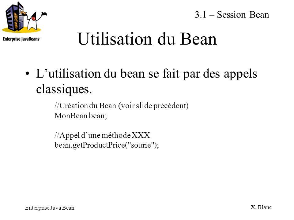 Enterprise Java Bean X. Blanc Utilisation du Bean Lutilisation du bean se fait par des appels classiques. //Création du Bean (voir slide précédent) Mo