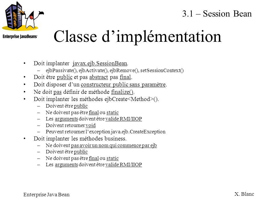 Enterprise Java Bean X. Blanc Classe dimplémentation Doit implanter javax.ejb.SessionBean. –ejbPassivate(), ejbActivate(), ejbRemove(), setSessionCont