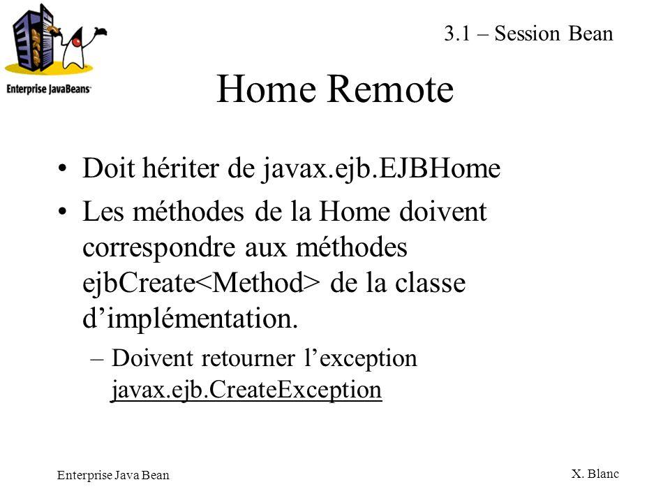 Enterprise Java Bean X. Blanc Home Remote Doit hériter de javax.ejb.EJBHome Les méthodes de la Home doivent correspondre aux méthodes ejbCreate de la