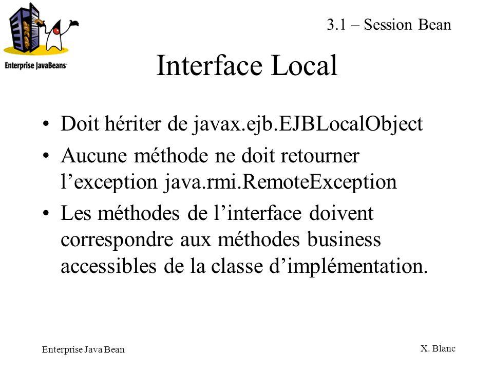 Enterprise Java Bean X. Blanc Interface Local Doit hériter de javax.ejb.EJBLocalObject Aucune méthode ne doit retourner lexception java.rmi.RemoteExce