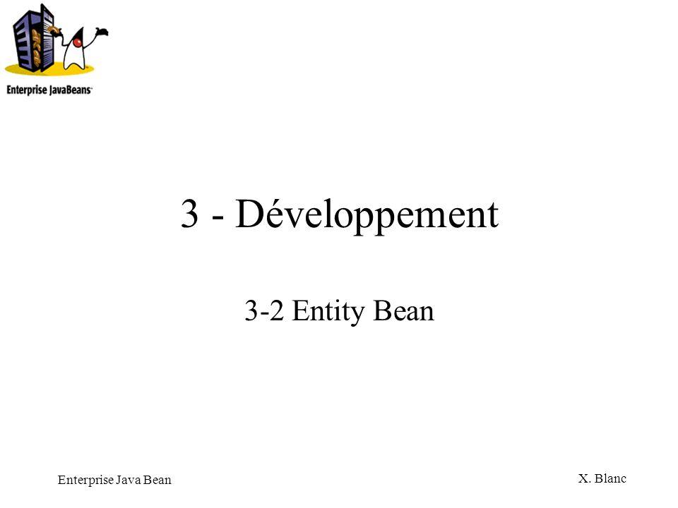 Enterprise Java Bean X. Blanc 3 - Développement 3-2 Entity Bean