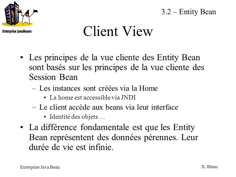 Enterprise Java Bean X. Blanc Client View Les principes de la vue cliente des Entity Bean sont basés sur les principes de la vue cliente des Session B