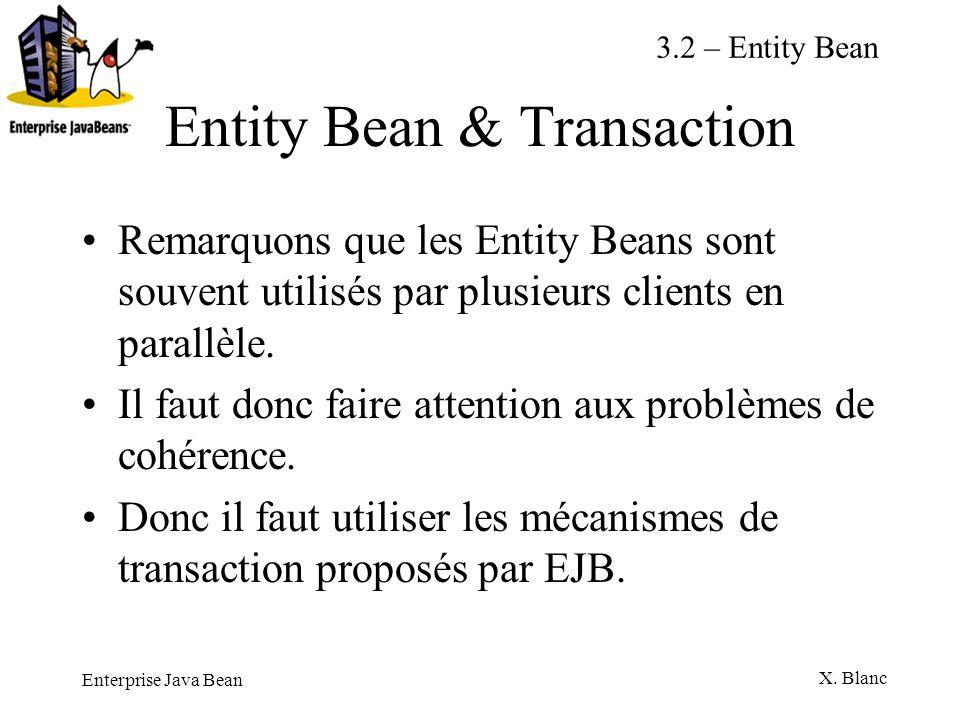 Enterprise Java Bean X. Blanc Entity Bean & Transaction Remarquons que les Entity Beans sont souvent utilisés par plusieurs clients en parallèle. Il f