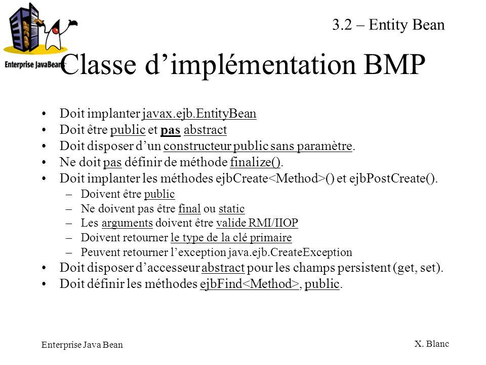 Enterprise Java Bean X. Blanc Classe dimplémentation BMP Doit implanter javax.ejb.EntityBean Doit être public et pas abstract Doit disposer dun constr