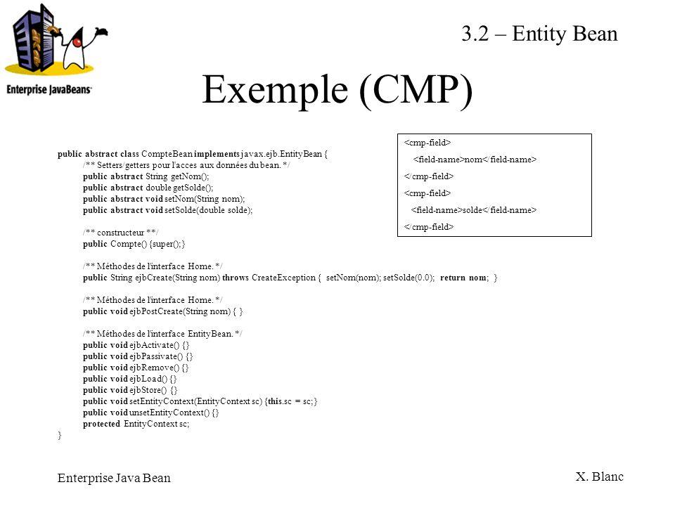Enterprise Java Bean X. Blanc Exemple (CMP) public abstract class CompteBean implements javax.ejb.EntityBean { /** Setters/getters pour l'acces aux do