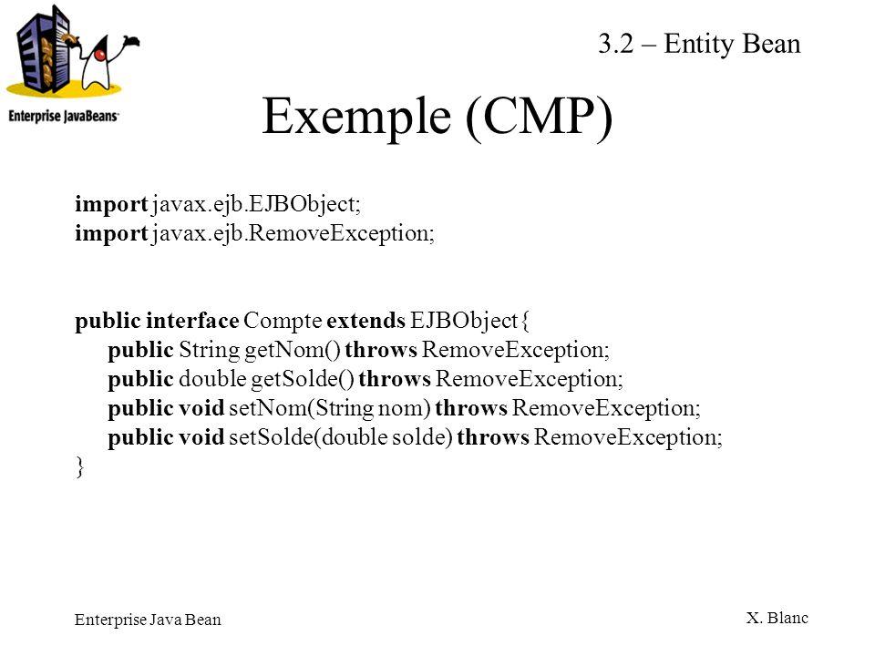 Enterprise Java Bean X. Blanc Exemple (CMP) import javax.ejb.EJBObject; import javax.ejb.RemoveException; public interface Compte extends EJBObject{ p