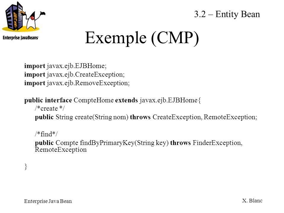 Enterprise Java Bean X. Blanc Exemple (CMP) import javax.ejb.EJBHome; import javax.ejb.CreateException; import javax.ejb.RemoveException; public inter