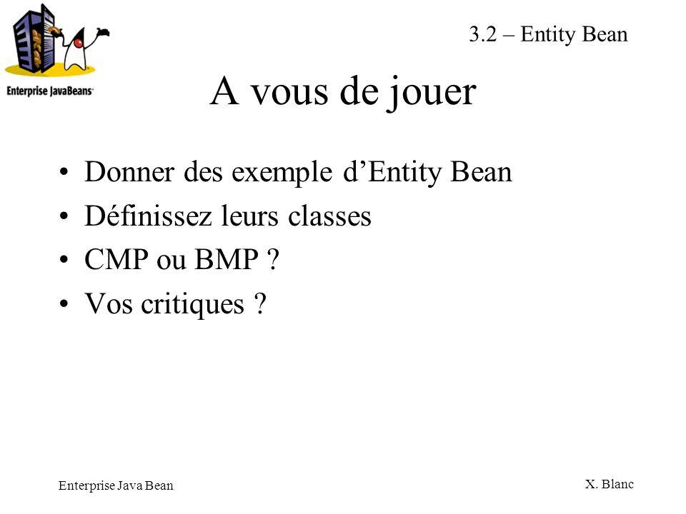 Enterprise Java Bean X. Blanc A vous de jouer Donner des exemple dEntity Bean Définissez leurs classes CMP ou BMP ? Vos critiques ? 3.2 – Entity Bean