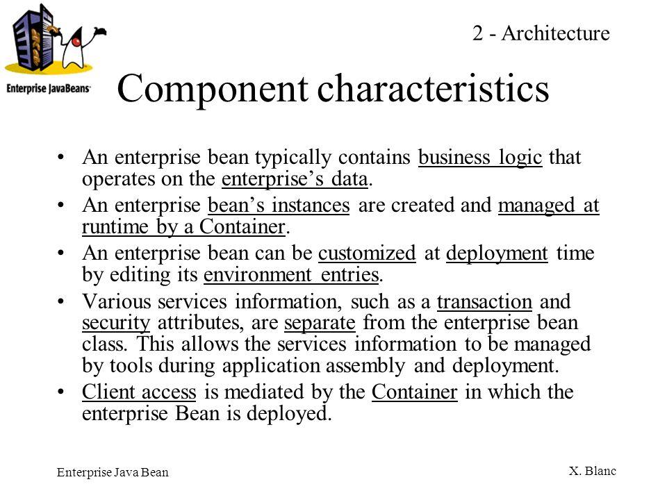 Enterprise Java Bean X.Blanc REQUIRED si l appelant a une transac.