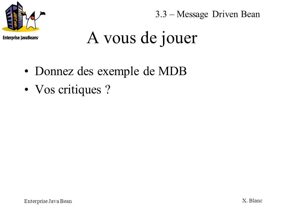Enterprise Java Bean X. Blanc A vous de jouer Donnez des exemple de MDB Vos critiques ? 3.3 – Message Driven Bean