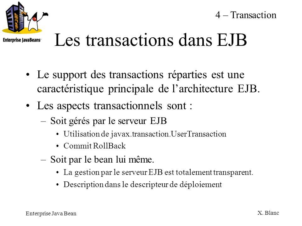 Enterprise Java Bean X. Blanc Les transactions dans EJB Le support des transactions réparties est une caractéristique principale de larchitecture EJB.