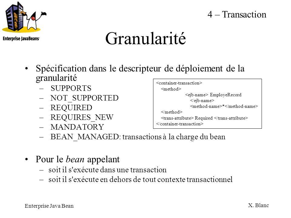 Enterprise Java Bean X. Blanc Granularité Spécification dans le descripteur de déploiement de la granularité – SUPPORTS – NOT_SUPPORTED – REQUIRED – R