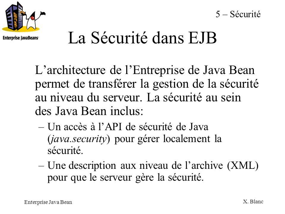 Enterprise Java Bean X. Blanc La Sécurité dans EJB Larchitecture de lEntreprise de Java Bean permet de transférer la gestion de la sécurité au niveau