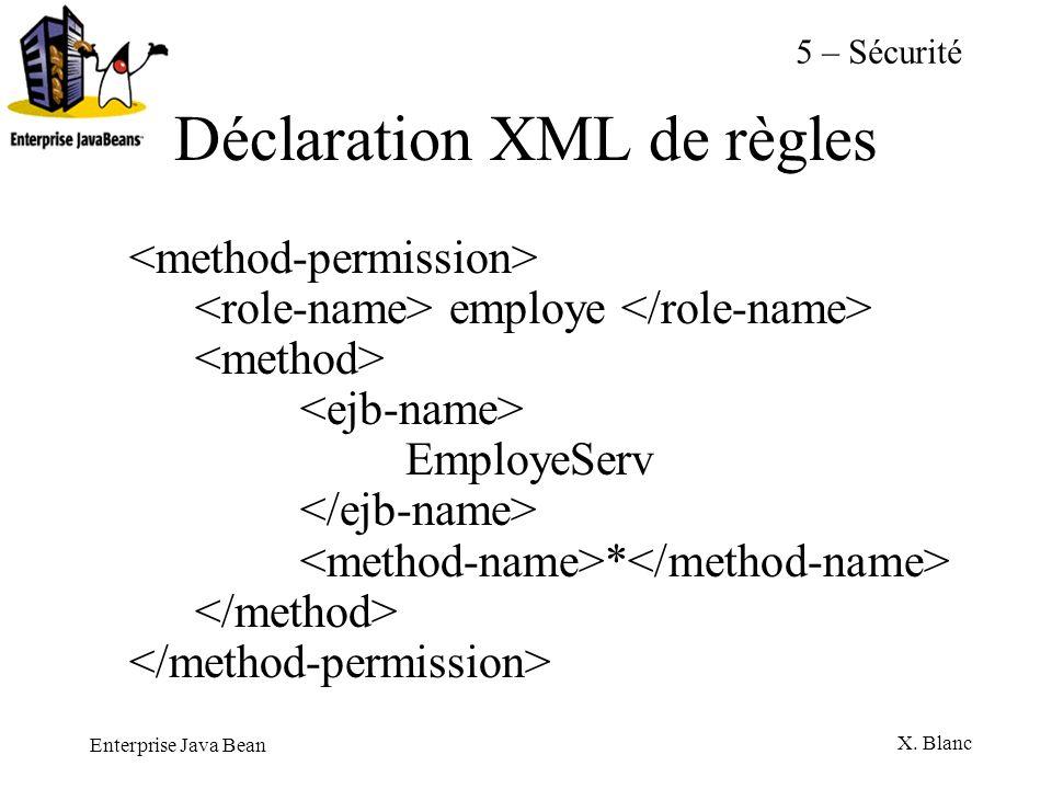 Enterprise Java Bean X. Blanc Déclaration XML de règles employe EmployeServ * 5 – Sécurité