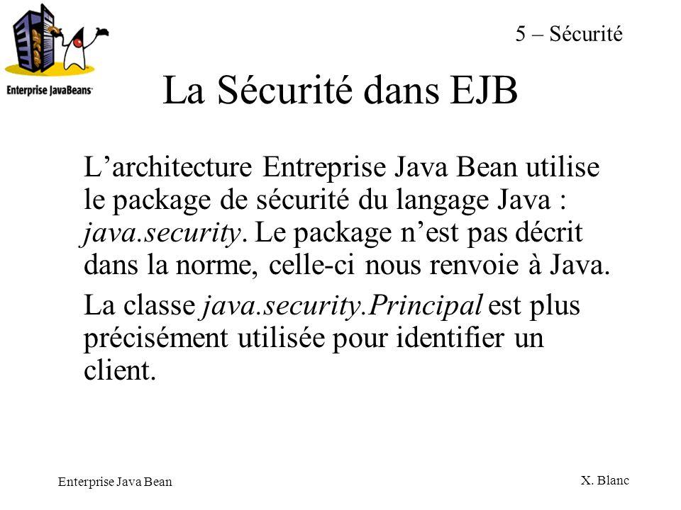 Enterprise Java Bean X. Blanc La Sécurité dans EJB Larchitecture Entreprise Java Bean utilise le package de sécurité du langage Java : java.security.