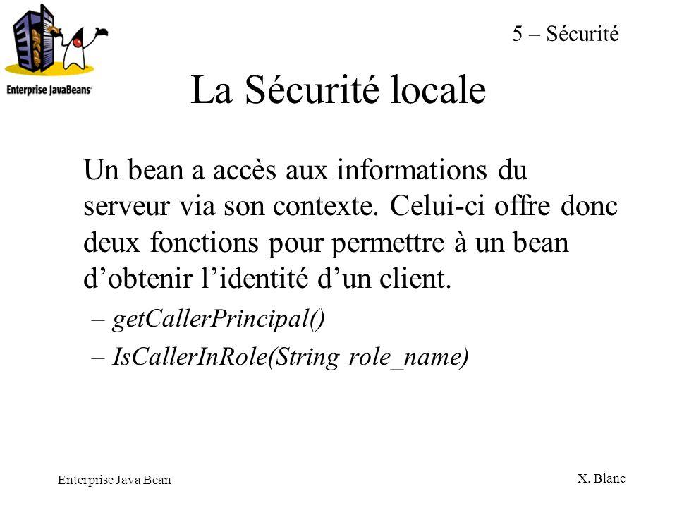 Enterprise Java Bean X. Blanc La Sécurité locale Un bean a accès aux informations du serveur via son contexte. Celui-ci offre donc deux fonctions pour
