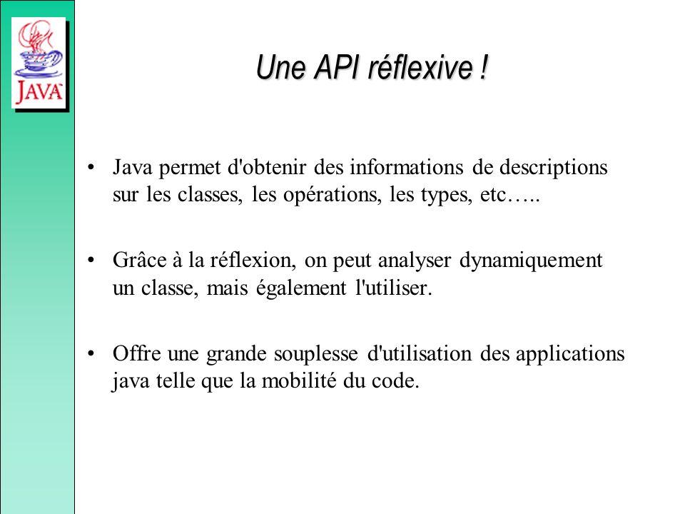 Une API réflexive ! Java permet d'obtenir des informations de descriptions sur les classes, les opérations, les types, etc….. Grâce à la réflexion, on
