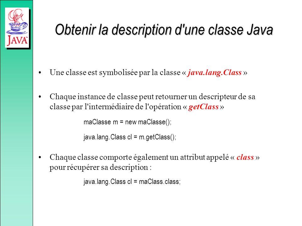 Obtenir la description d'une classe Java Une classe est symbolisée par la classe « java.lang.Class » Chaque instance de classe peut retourner un descr