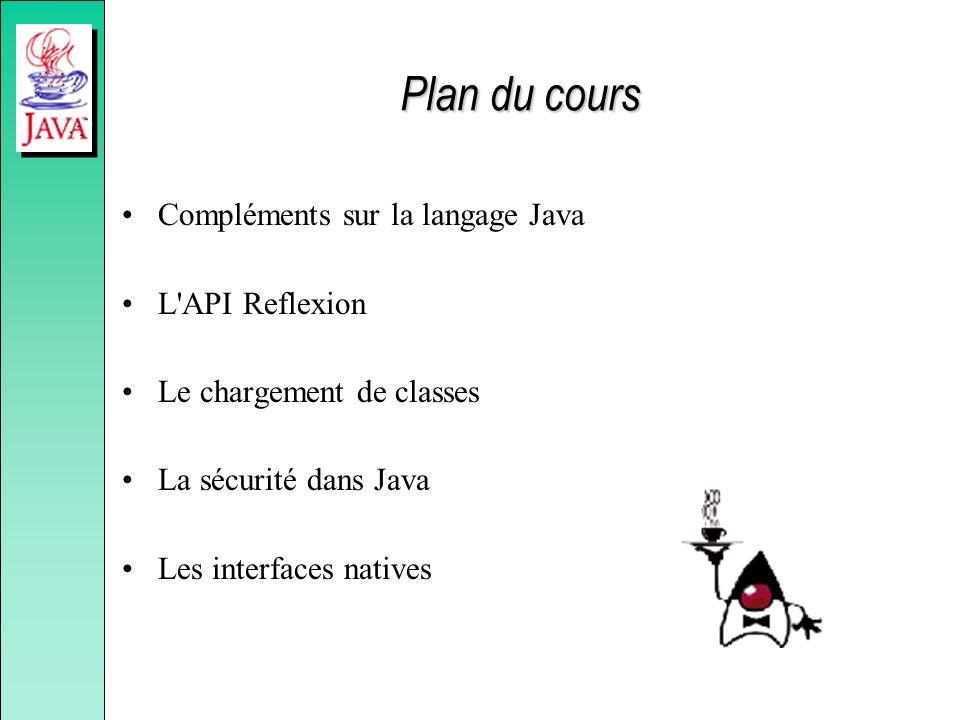 Plan du cours Compléments sur la langage Java L'API Reflexion Le chargement de classes La sécurité dans Java Les interfaces natives