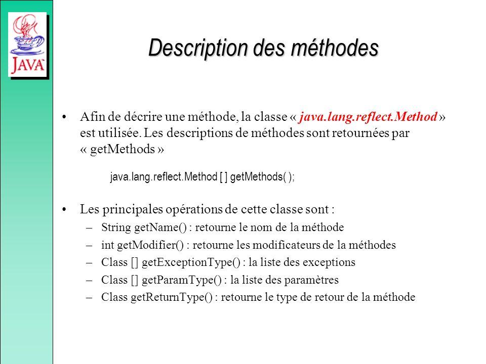Description des méthodes Afin de décrire une méthode, la classe « java.lang.reflect.Method » est utilisée. Les descriptions de méthodes sont retournée