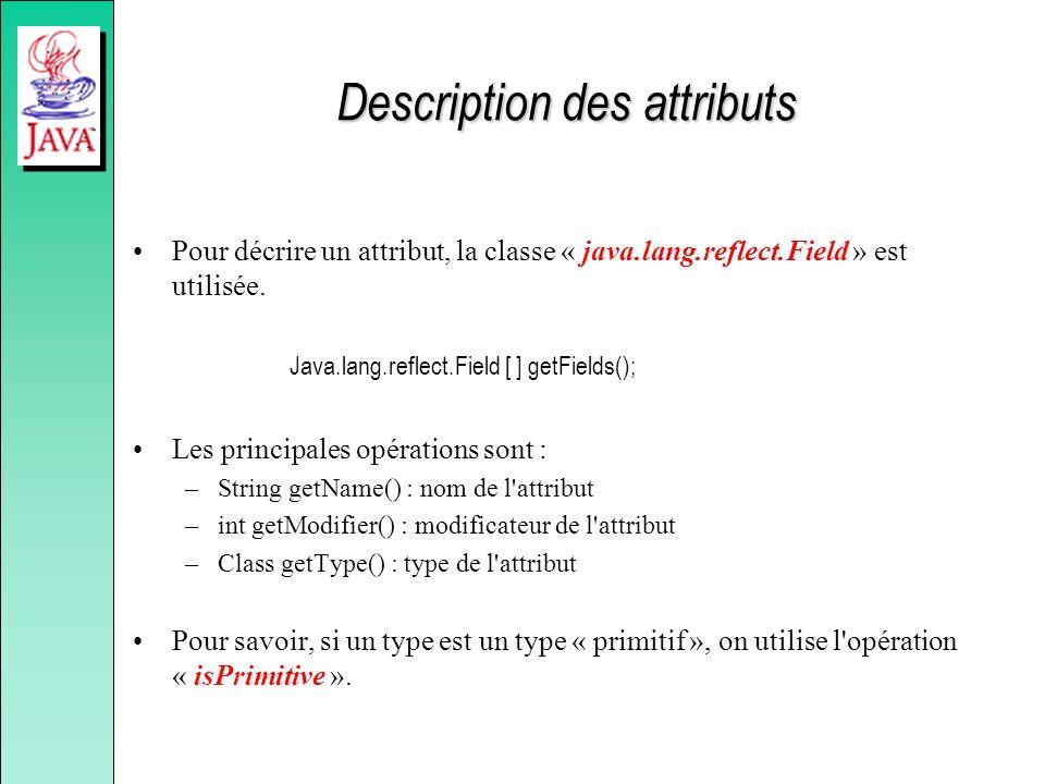 Description des attributs Pour décrire un attribut, la classe « java.lang.reflect.Field » est utilisée. Java.lang.reflect.Field [ ] getFields(); Les p