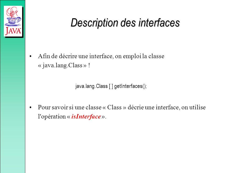 Description des interfaces Afin de décrire une interface, on emploi la classe « java.lang.Class » ! java.lang.Class [ ] getInterfaces(); Pour savoir s