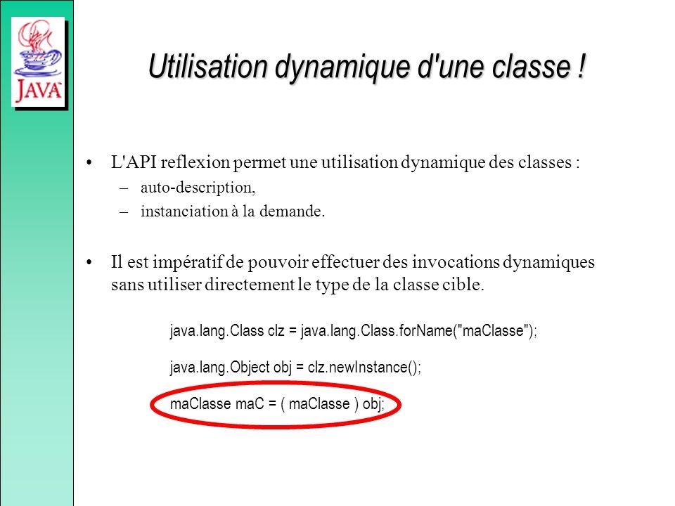 Utilisation dynamique d'une classe ! L'API reflexion permet une utilisation dynamique des classes : –auto-description, –instanciation à la demande. Il