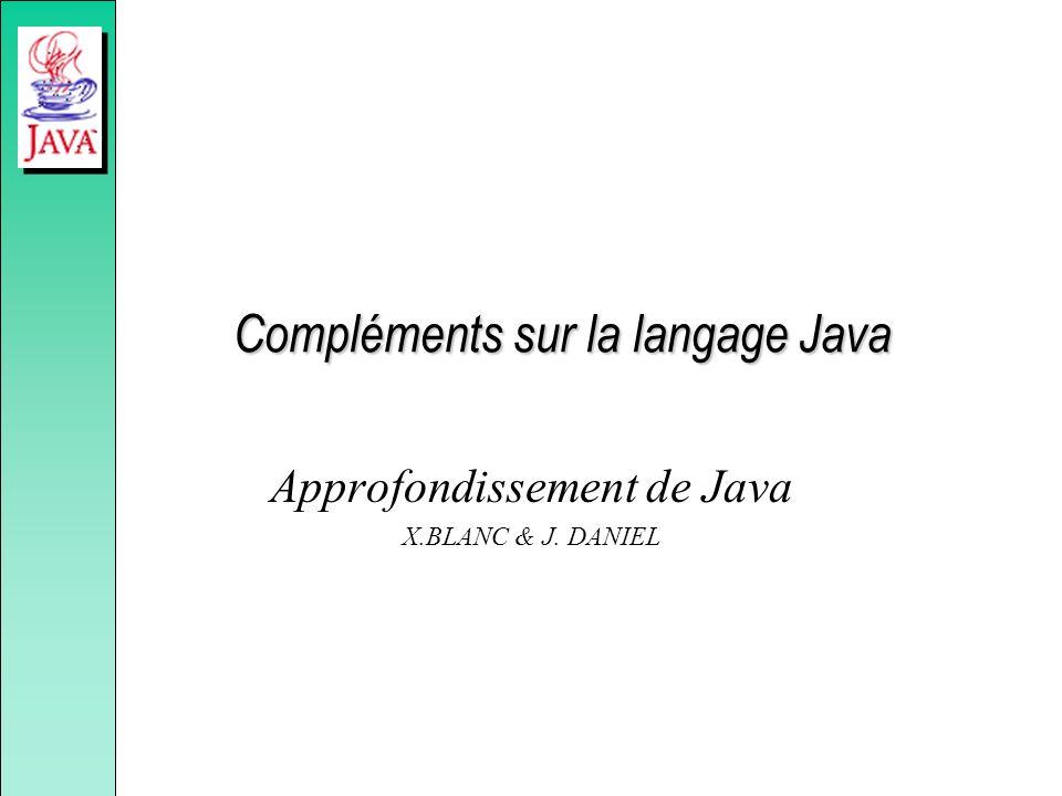 Epilogue sur la sécurité Spécification de paramètres de sécurité depuis la ligne de commande : –java.security.manager –java.security.policy Le JDK 1.2 augmente considérablement la gestion de la sécurité dans Java.