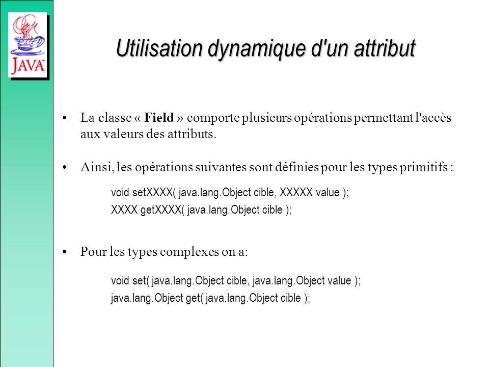Utilisation dynamique d'un attribut La classe « Field » comporte plusieurs opérations permettant l'accès aux valeurs des attributs. Ainsi, les opérati
