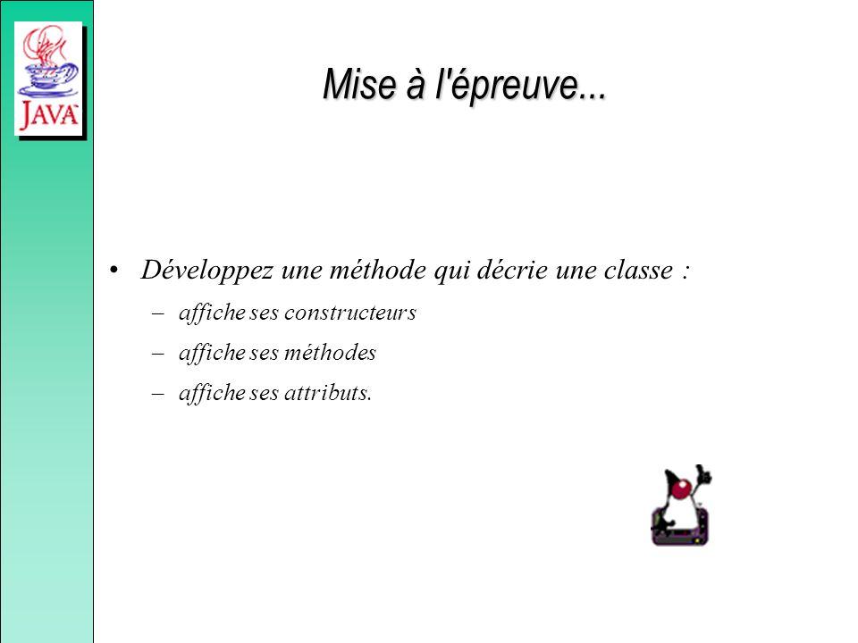 Mise à l'épreuve... Développez une méthode qui décrie une classe : –affiche ses constructeurs –affiche ses méthodes –affiche ses attributs.