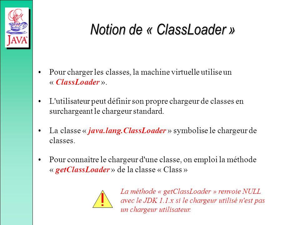Notion de « ClassLoader » Pour charger les classes, la machine virtuelle utilise un « ClassLoader ». L'utilisateur peut définir son propre chargeur de