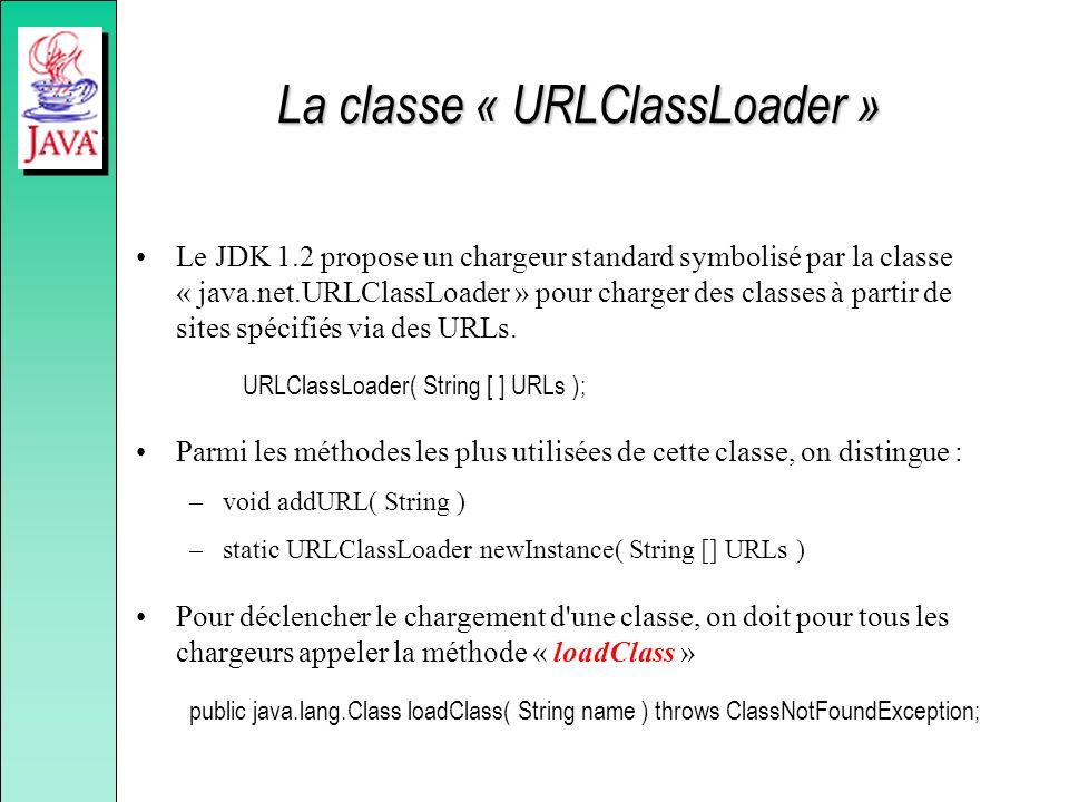 La classe « URLClassLoader » Le JDK 1.2 propose un chargeur standard symbolisé par la classe « java.net.URLClassLoader » pour charger des classes à pa