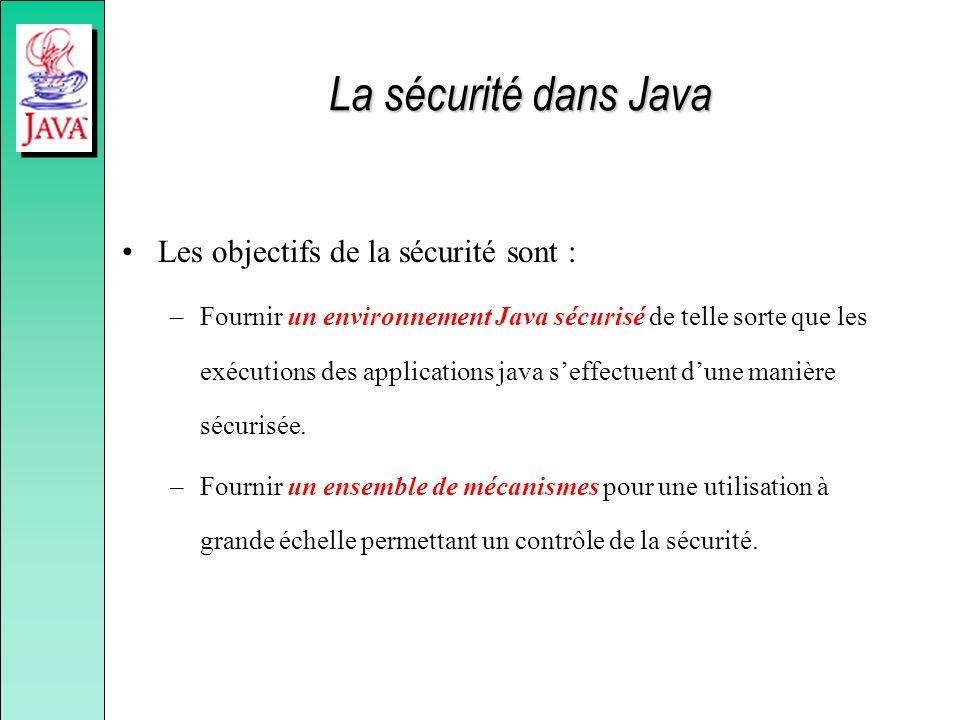 La sécurité dans Java Les objectifs de la sécurité sont : –Fournir un environnement Java sécurisé de telle sorte que les exécutions des applications j