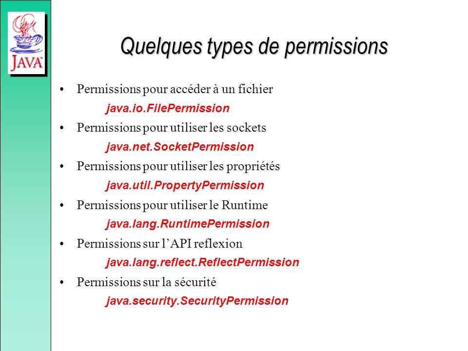 Quelques types de permissions Permissions pour accéder à un fichier java.io.FilePermission Permissions pour utiliser les sockets java.net.SocketPermis