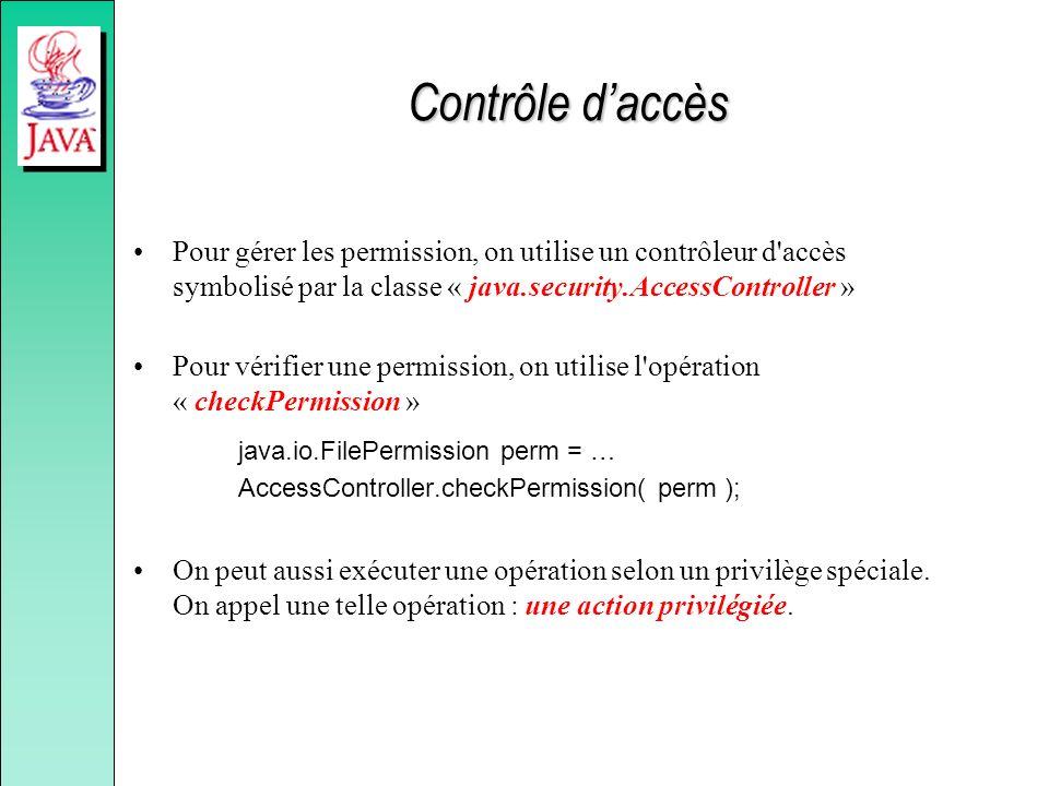 Contrôle daccès Pour gérer les permission, on utilise un contrôleur d'accès symbolisé par la classe « java.security.AccessController » Pour vérifier u