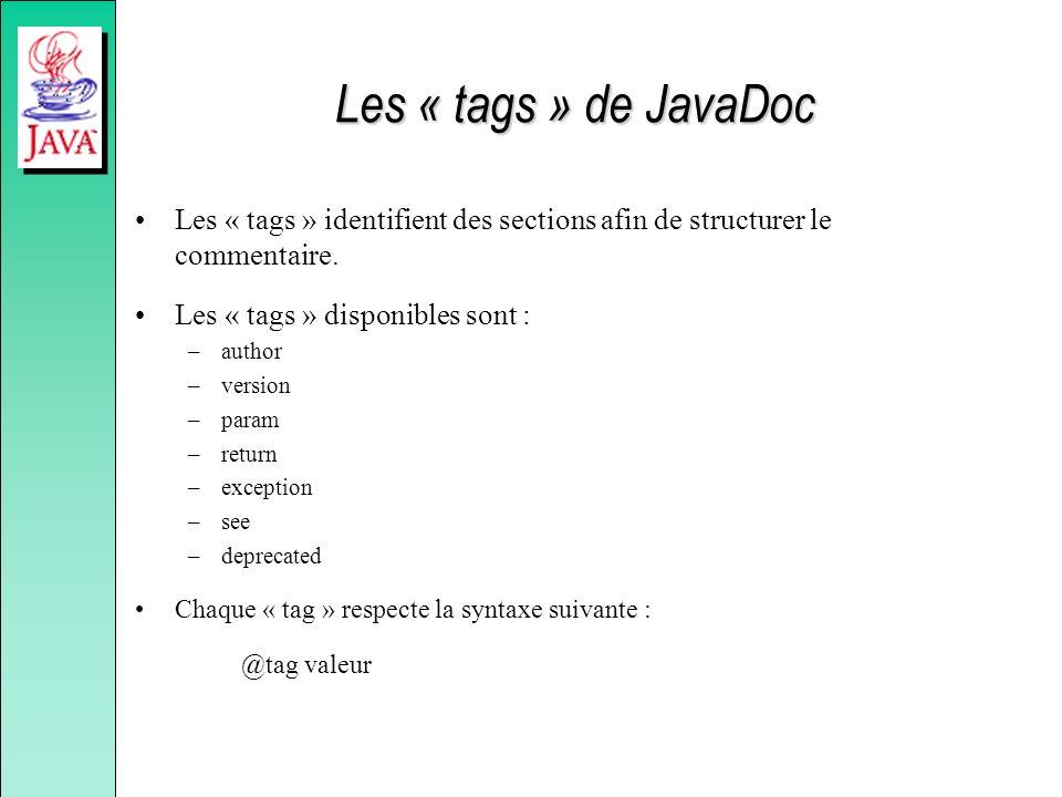 Les « tags » de JavaDoc Les « tags » identifient des sections afin de structurer le commentaire. Les « tags » disponibles sont : –author –version –par