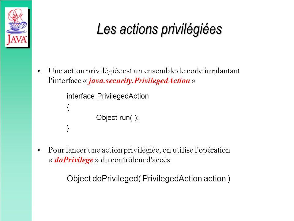Les actions privilégiées Une action privilégiée est un ensemble de code implantant l'interface « java.security.PrivilegedAction » interface Privileged