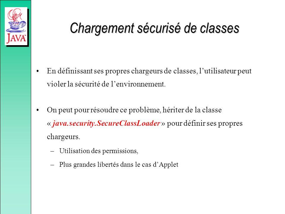Chargement sécurisé de classes En définissant ses propres chargeurs de classes, lutilisateur peut violer la sécurité de lenvironnement. On peut pour r