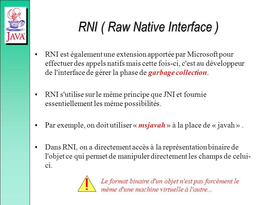 RNI ( Raw Native Interface ) RNI est également une extension apportée par Microsoft pour effectuer des appels natifs mais cette fois-ci, c'est au déve