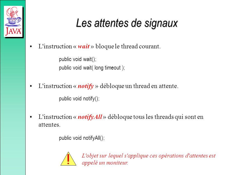 La classe « java.lang.Class » La classe « Class » retourne toutes les informations permettant de connaître la description d une classe : –son nom ( getName ), –son package ( getPackage ), –ses constructeurs ( getConstructors ), –ses méthodes ( getMethods ), –ses attributs ( getFields ), –son ancêtre ( getSuperclass ), –les interfaces qu elle implante ( getInterfaces ).