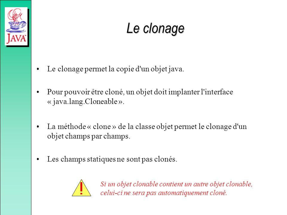 Le clonage Le clonage permet la copie d'un objet java. Pour pouvoir être cloné, un objet doit implanter l'interface « java.lang.Cloneable ». La méthod
