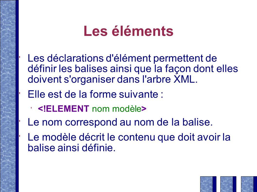 Les éléments Les déclarations d'élément permettent de définir les balises ainsi que la façon dont elles doivent s'organiser dans l'arbre XML. Elle est