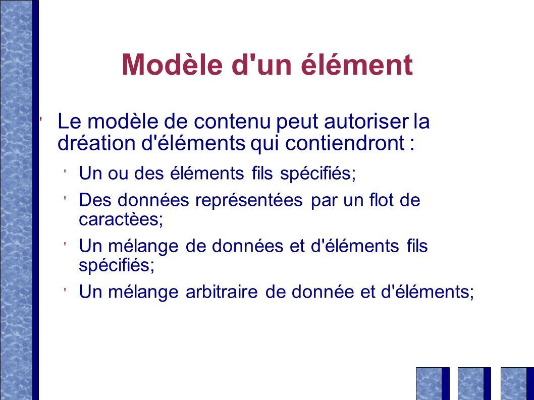 Modèle d'un élément Le modèle de contenu peut autoriser la dréation d'éléments qui contiendront : Un ou des éléments fils spécifiés; Des données repré