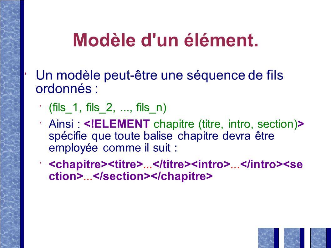 Modèle d'un élément. Un modèle peut-être une séquence de fils ordonnés : (fils_1, fils_2,..., fils_n) Ainsi : spécifie que toute balise chapitre devra